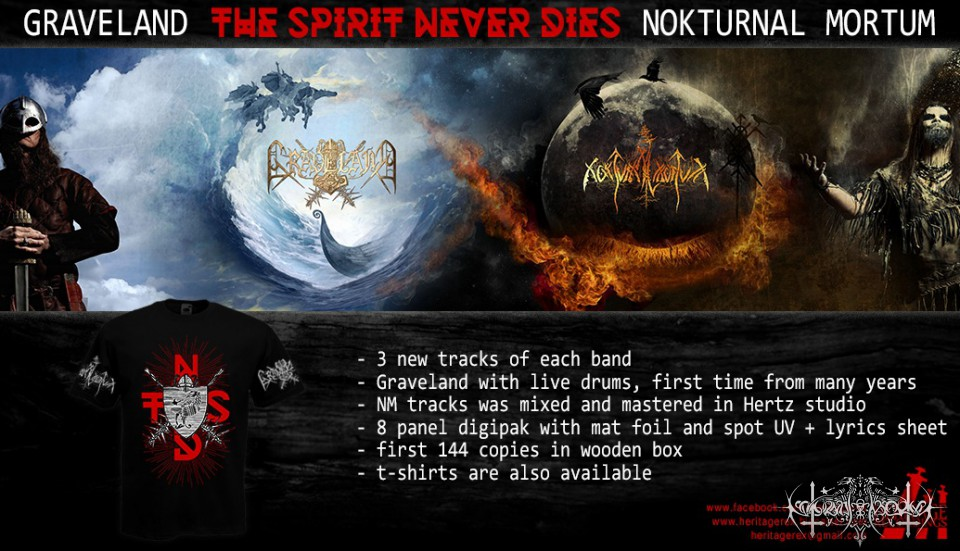 """GRAVELAND / NOKTURNAL MORTUM """"The Spirit Never Dies"""" Split CD"""