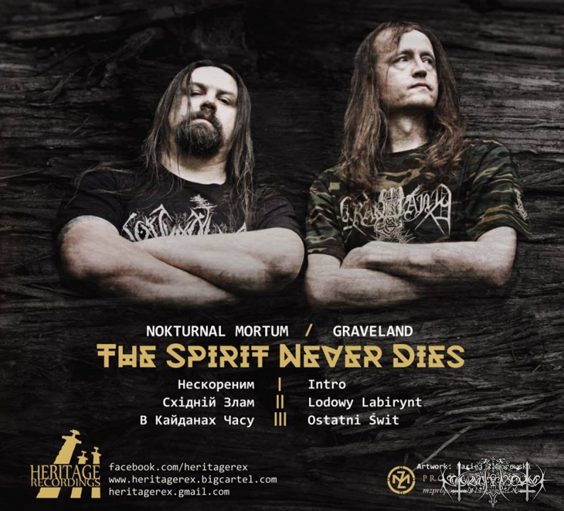 "GRAVELAND / NOKTURNAL MORTUM ""The Spirit Never Dies"" track list"